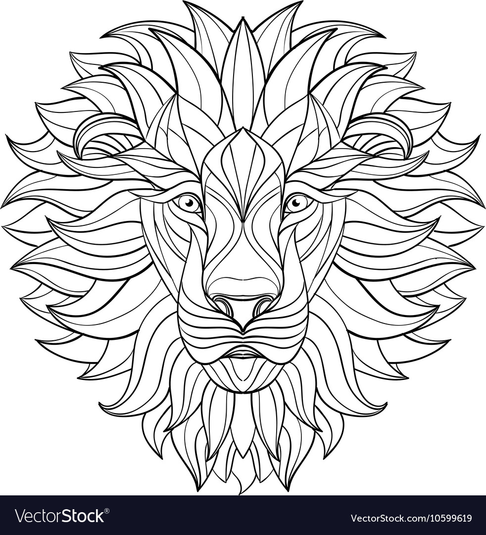 Detailed Lion in aztec style Patterned head on