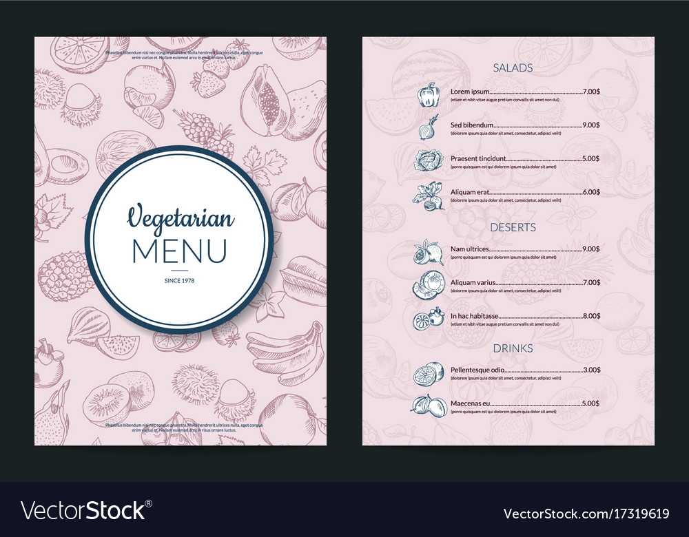 Doodle handdrawn fruits and vegetables vector image