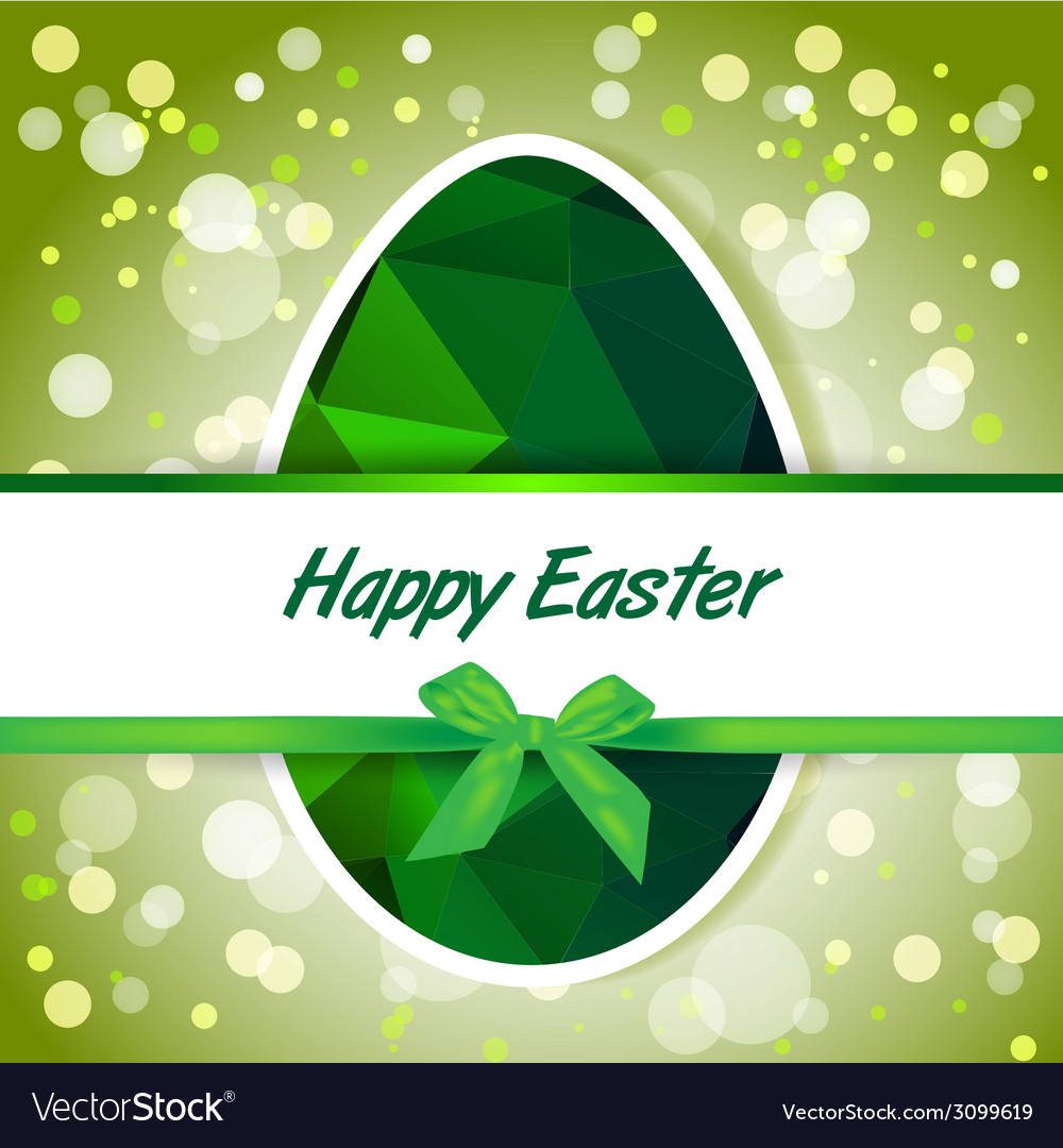 Easter polygonal green eggs greeting card vector image