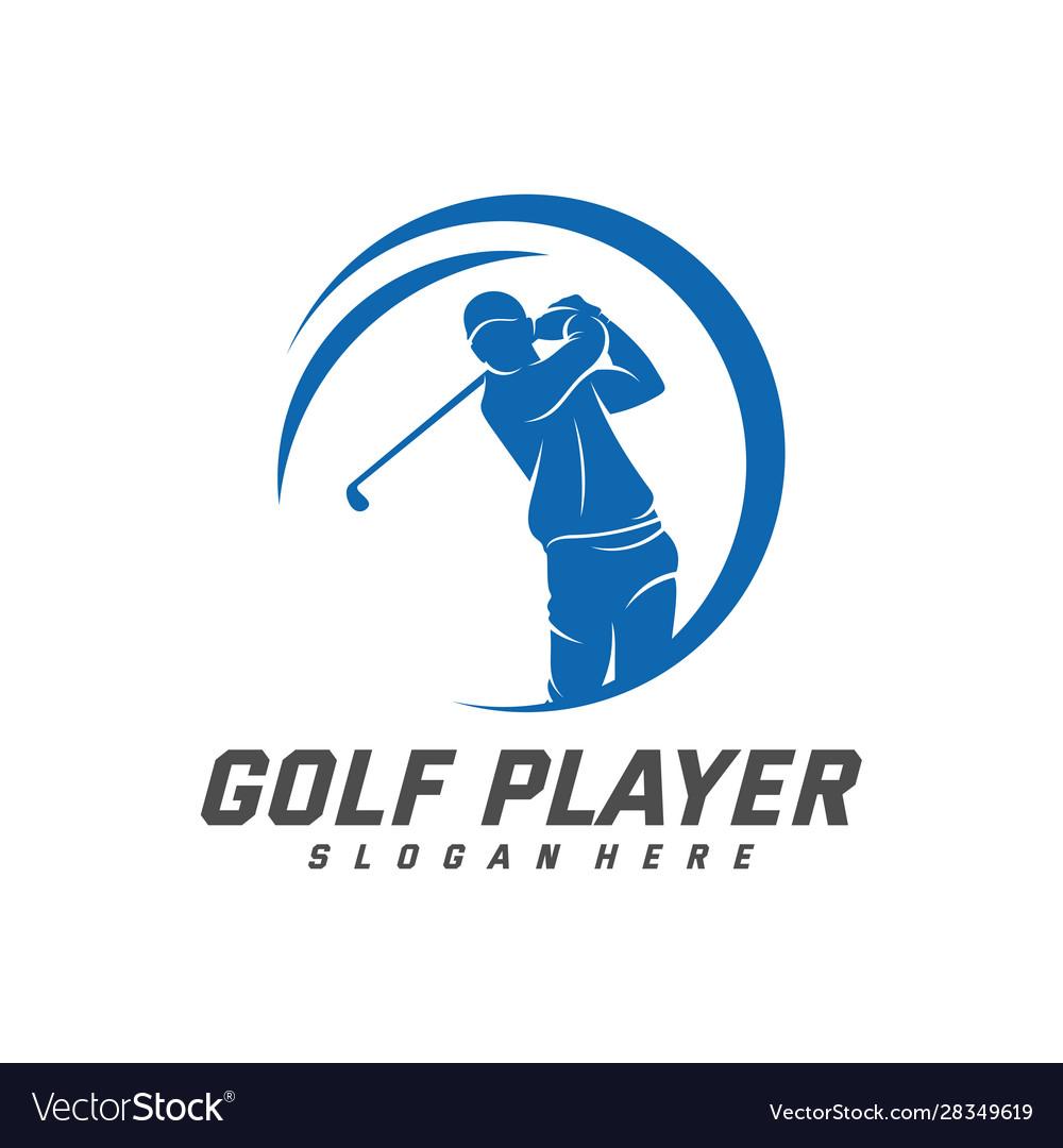 Golf Player Logo Design Template Label Golf Vector Image
