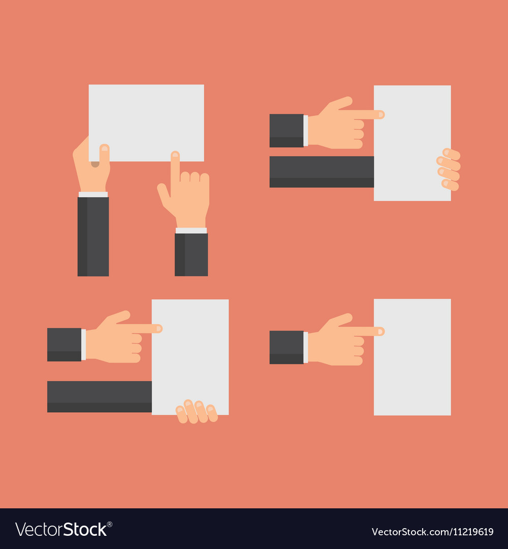 Hand holding blank white banners and hands vector image