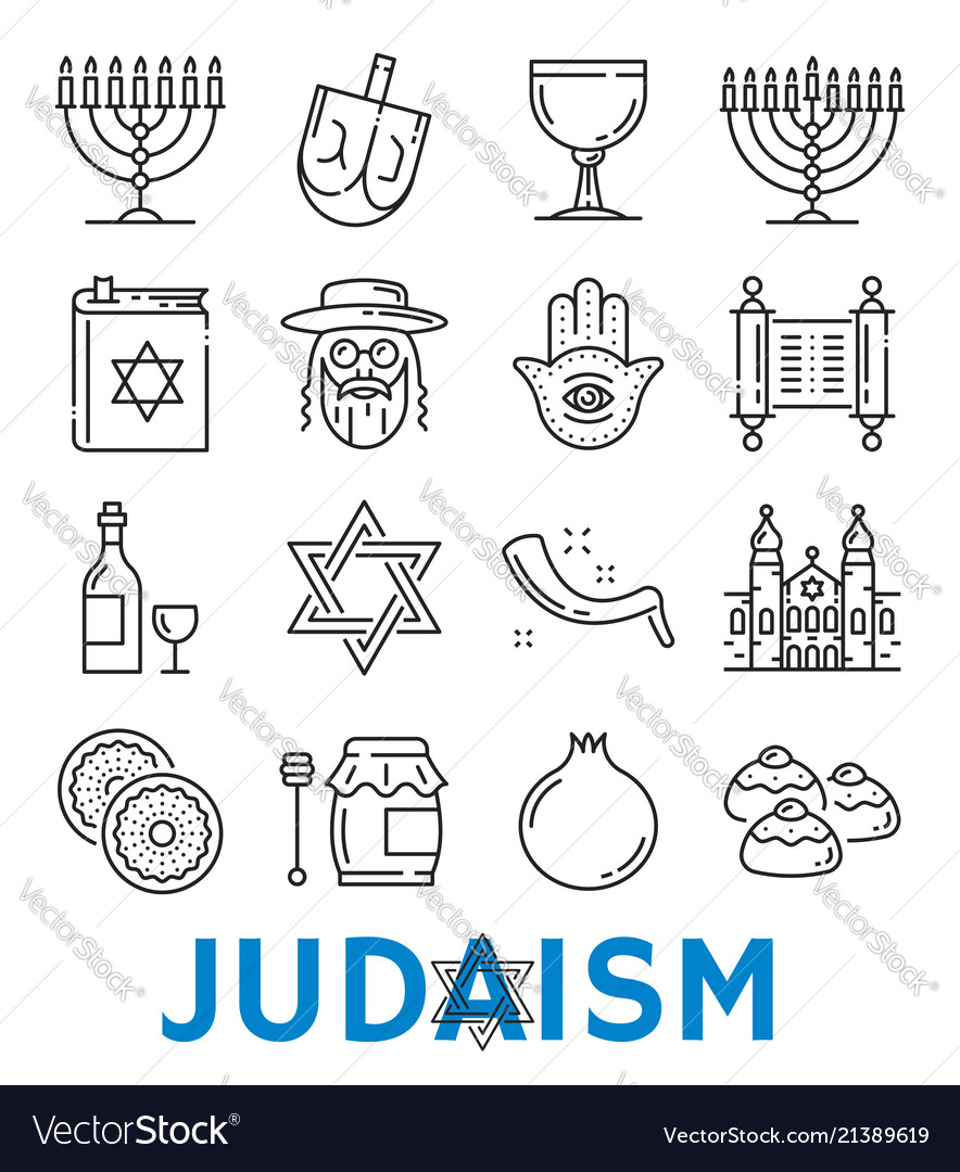 Judaism Religious Symbols Thin Line Icons Vector Image