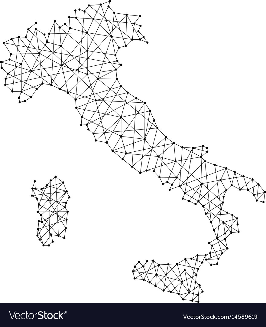 Italy Map Black And White.Map Of Italy From Polygonal Black Lines And Dots Vector Image