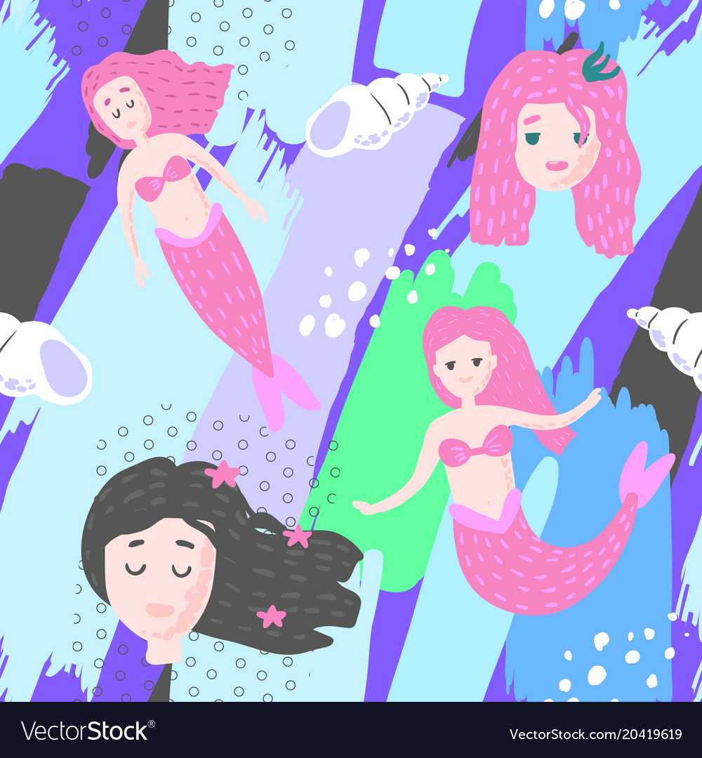 Mermaids seamless pattern in childish style