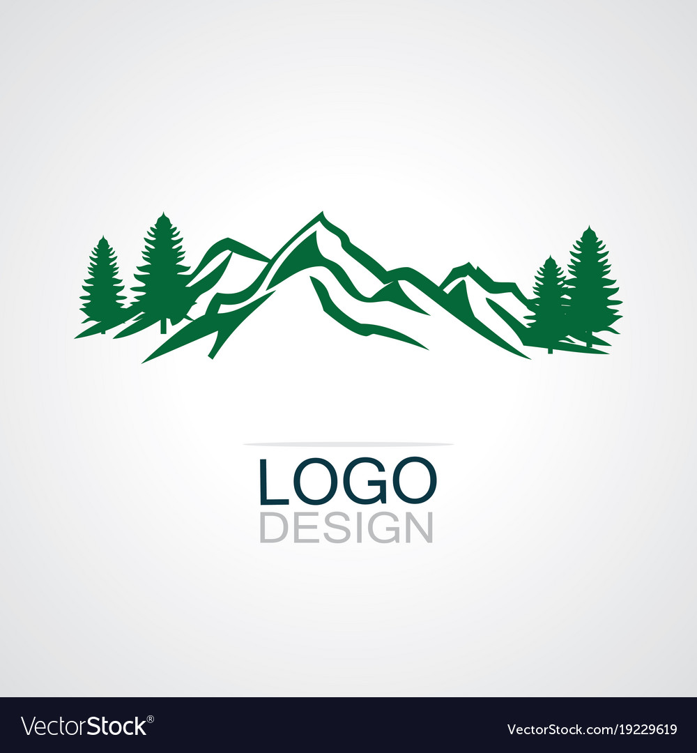 mountain green forest logo royalty free vector image