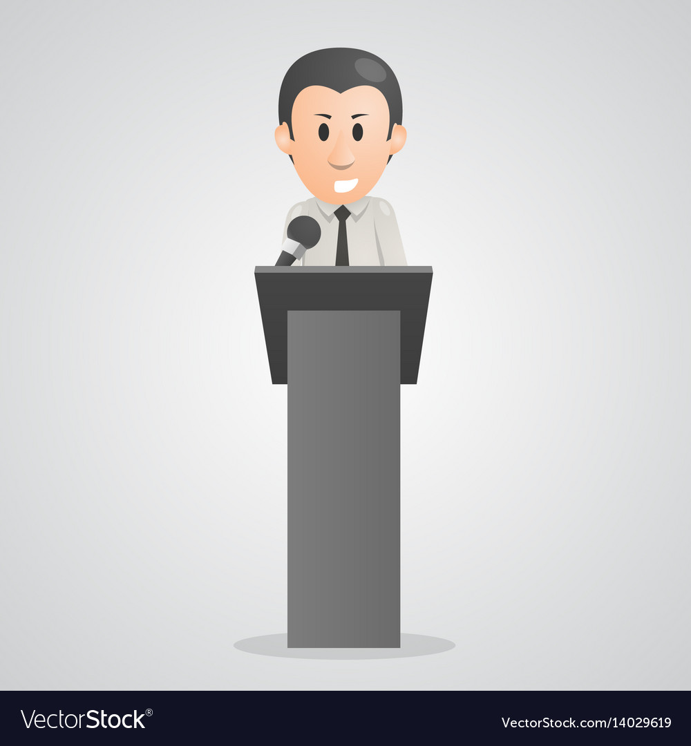 Person speaks into microphone podium vector image