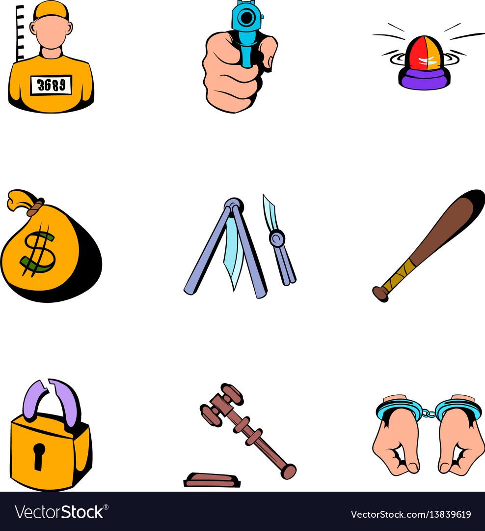 Prison icons set cartoon style