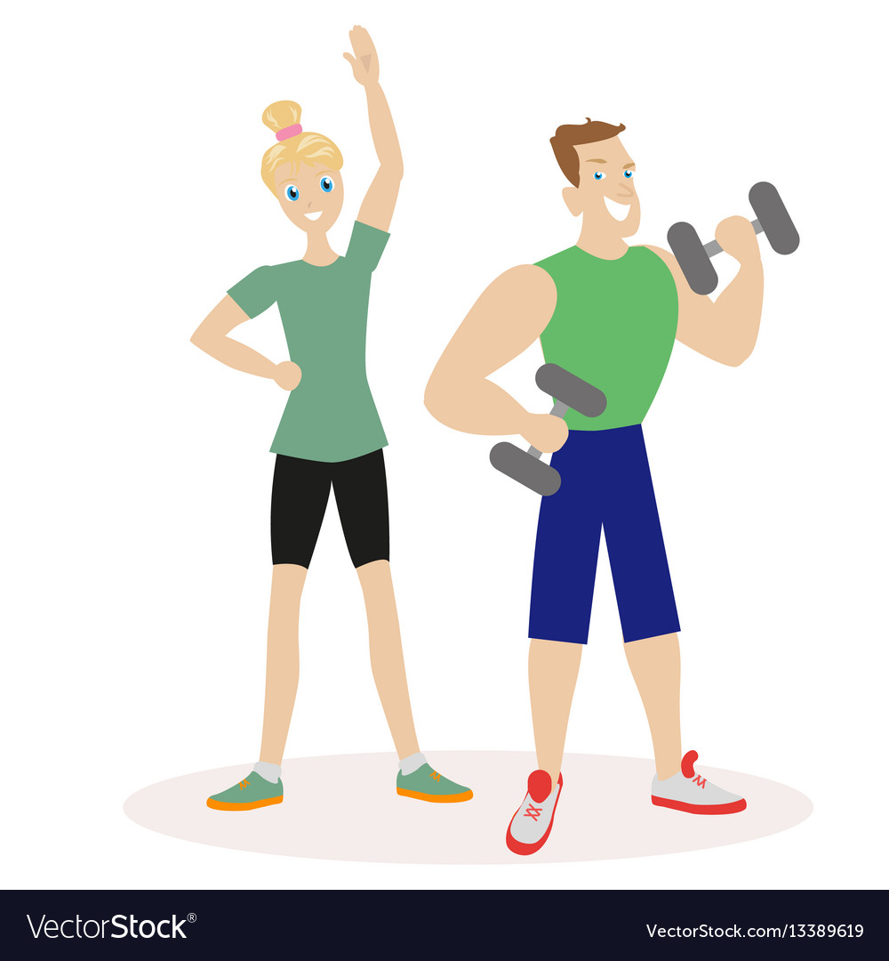 Sport people man and woman engaged in fitness or