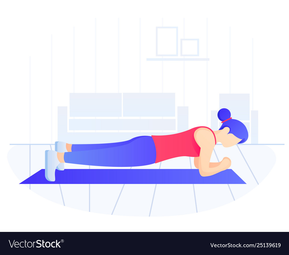 Young fit woman doing plank exercise core workout