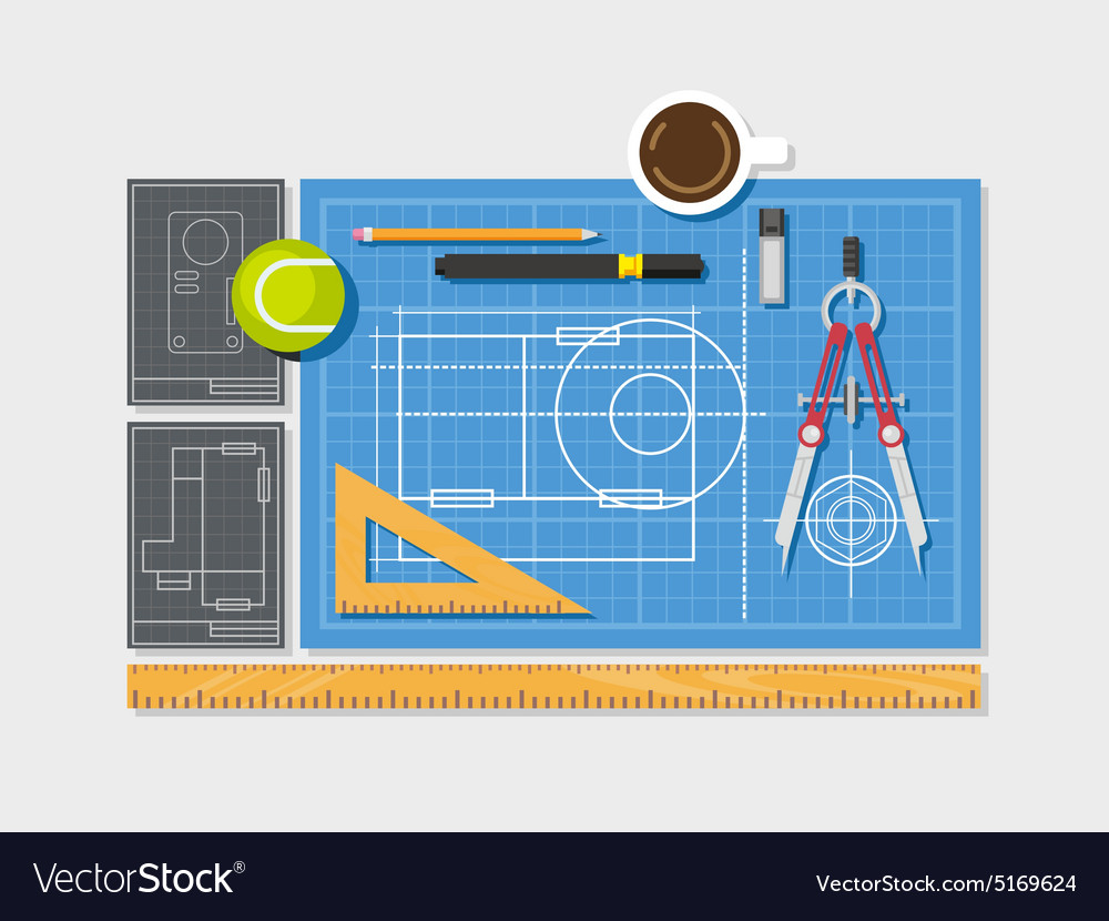 Blueprint with ruler compass and cup of coffee