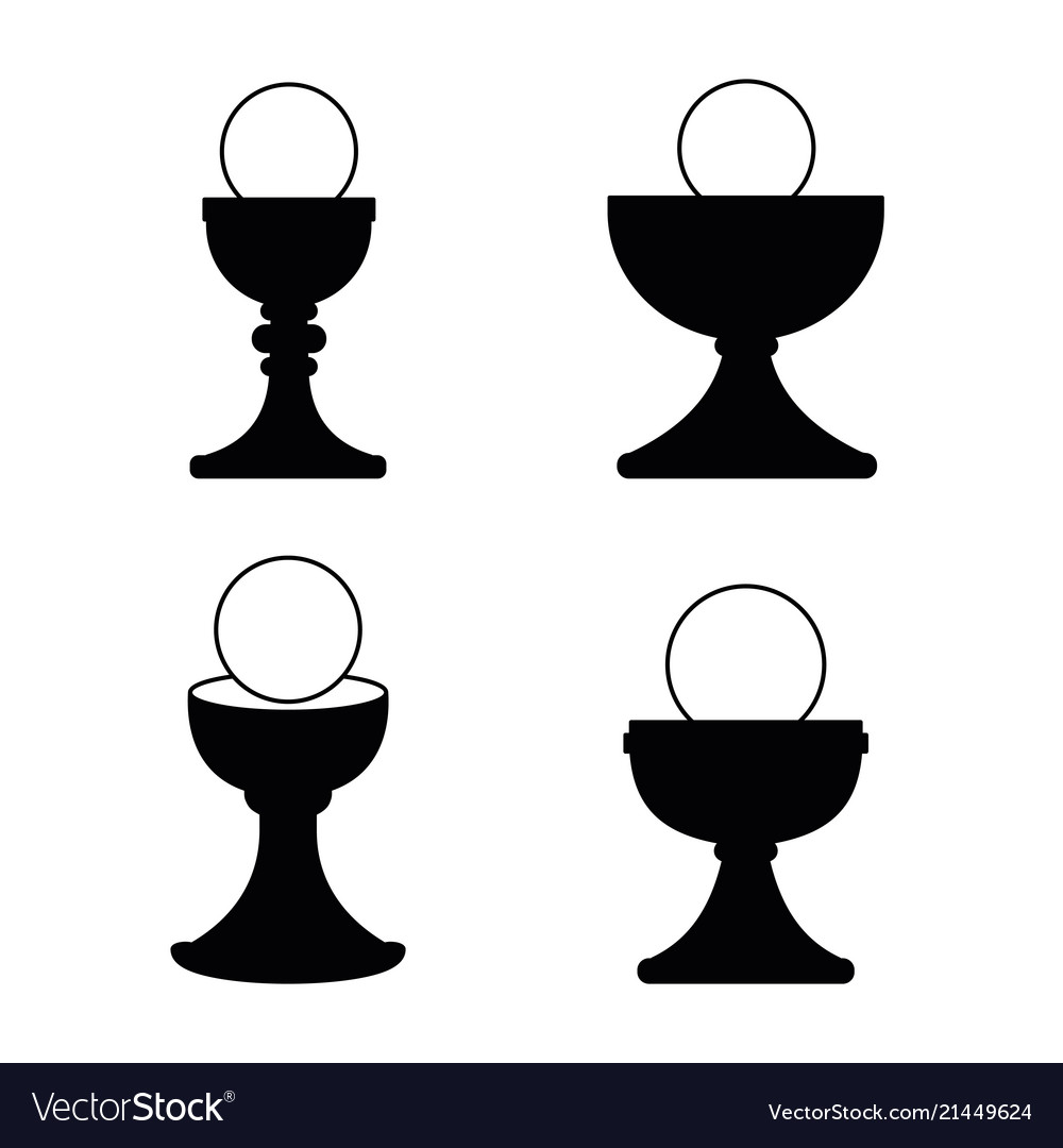 Christian chalice icon set
