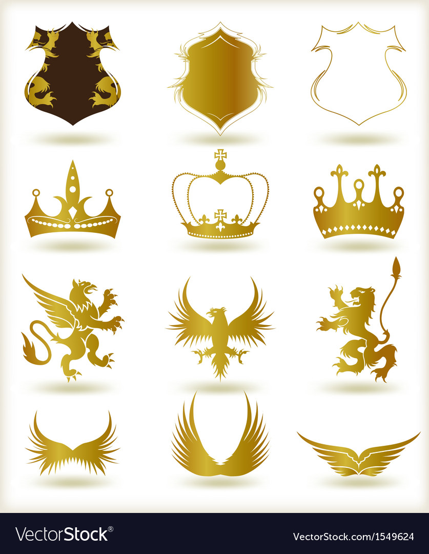 Collection heraldic gold elements