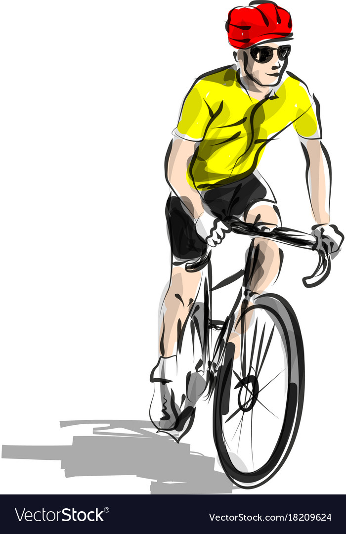 Color line sketch cyclist