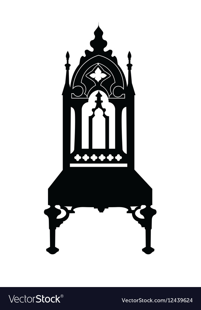 Gothic Style Chair With Ornaments Vector Image