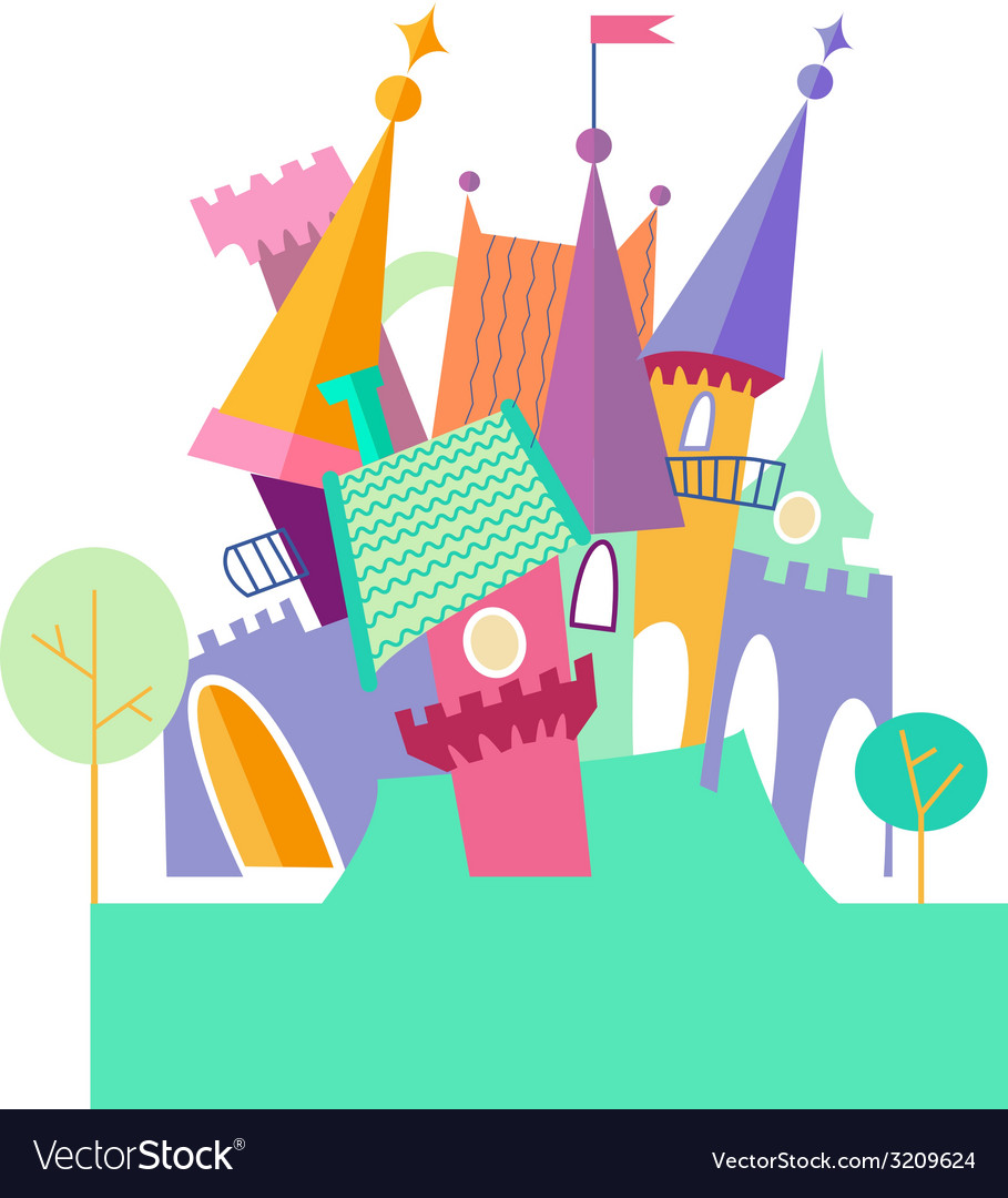 Magical fabulous cartoon castle flat
