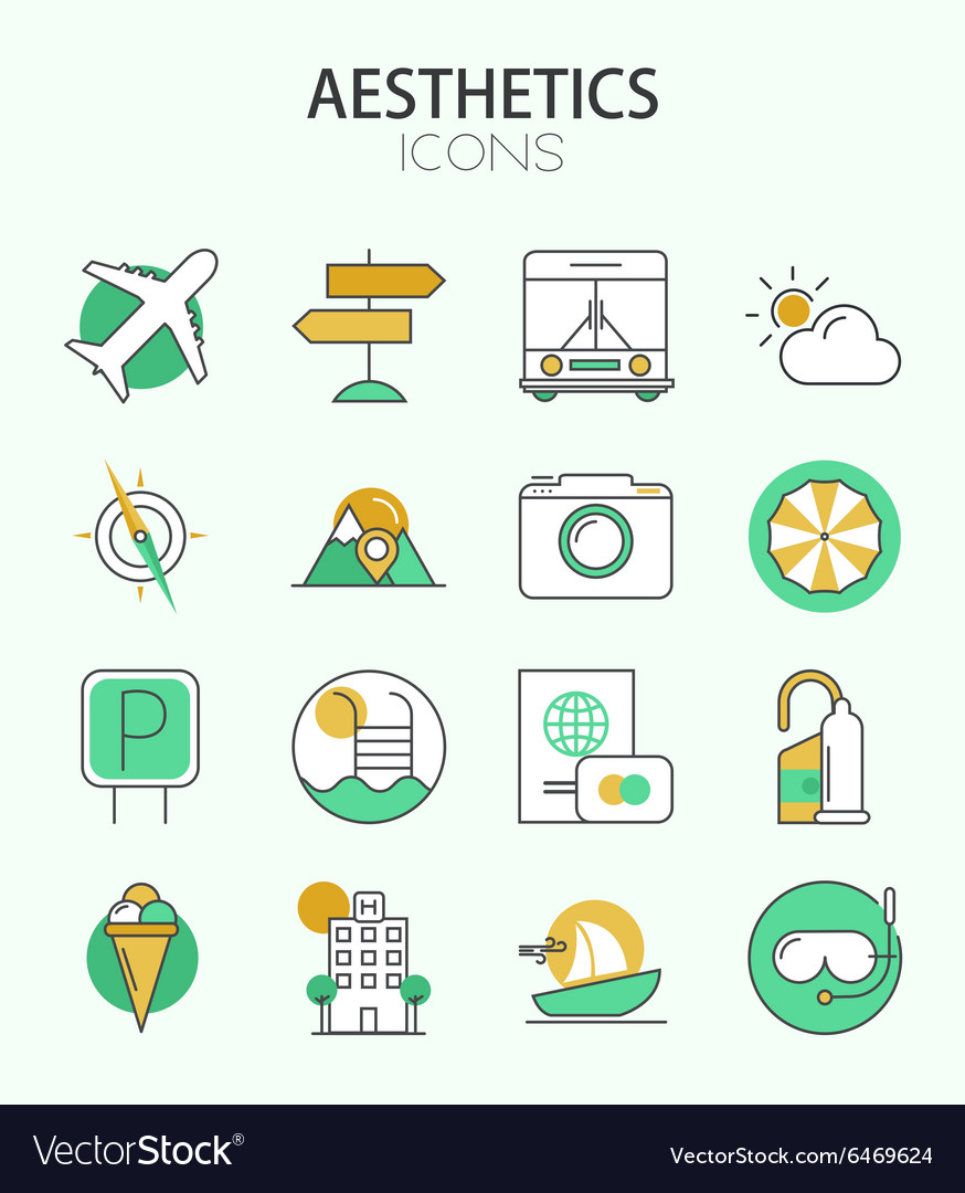 Modern thin line flat design icons set vector