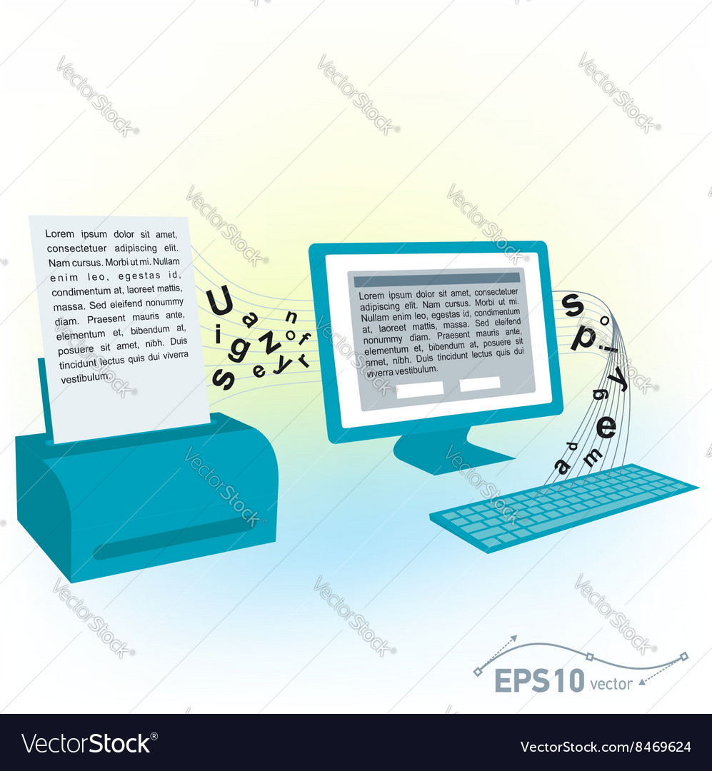 Pc computer monitor keyboard printed text blank