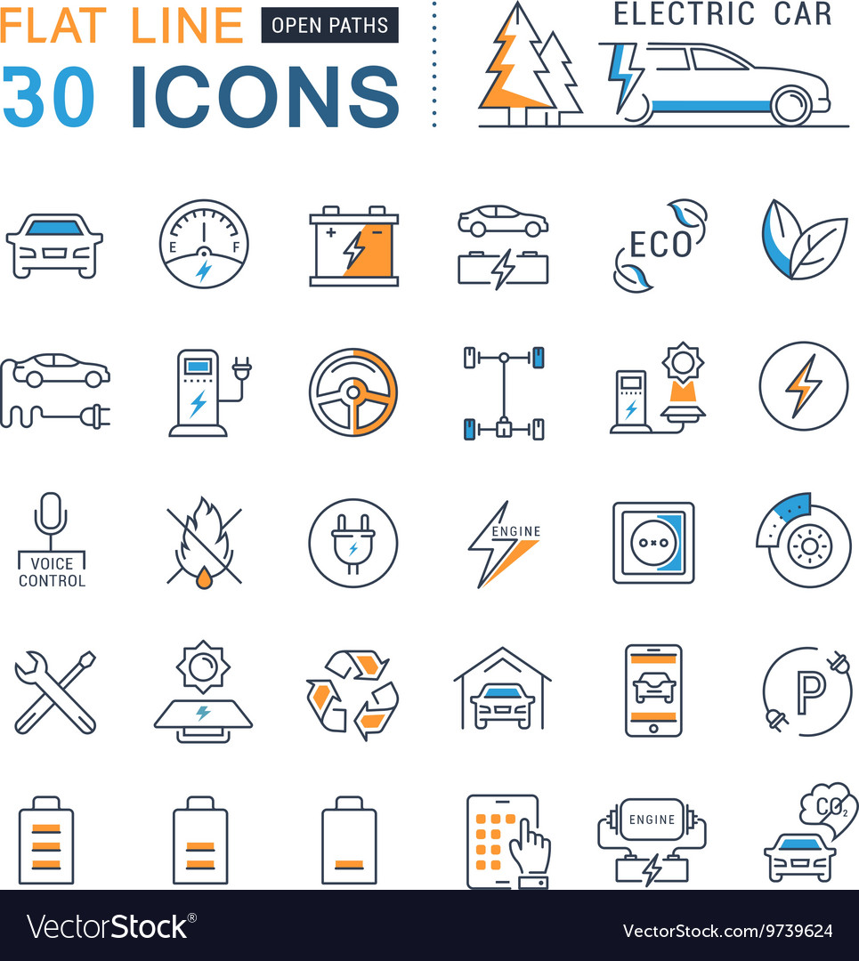 Set Flat Line Icons Electric Cars