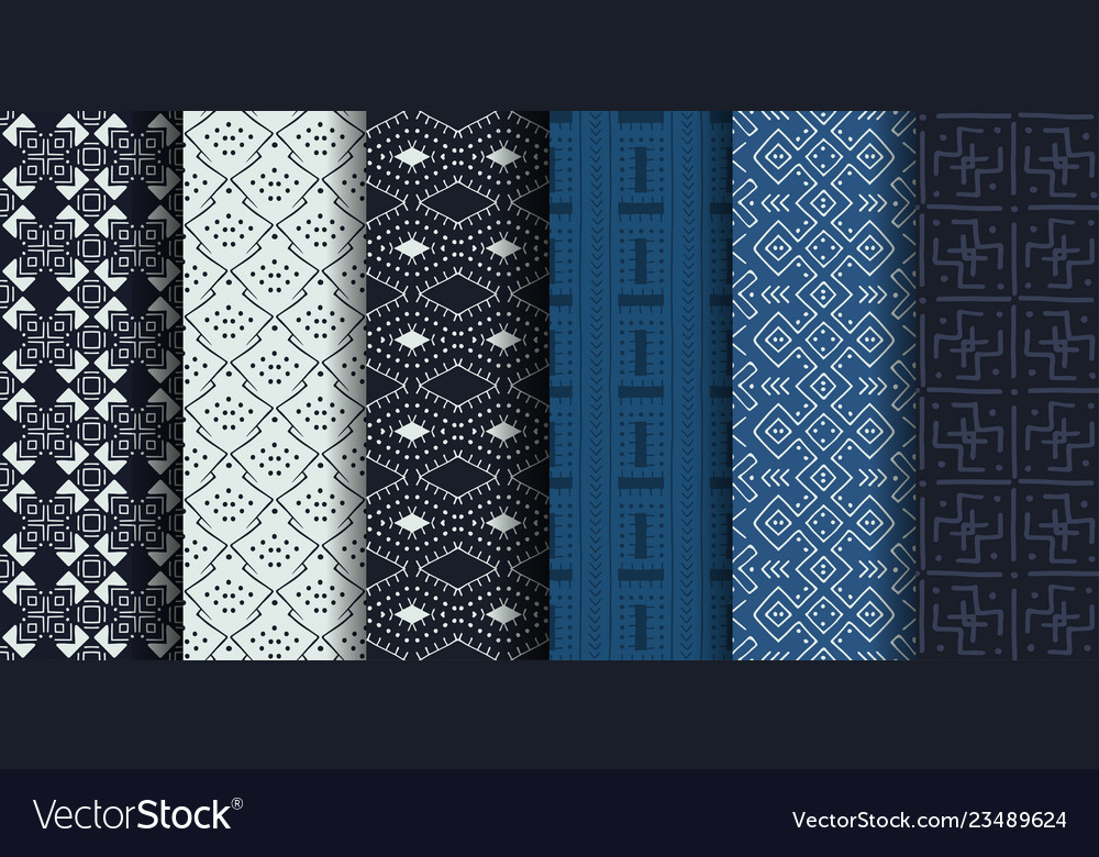 Set of african ethnic seamless patterns Royalty Free Vector