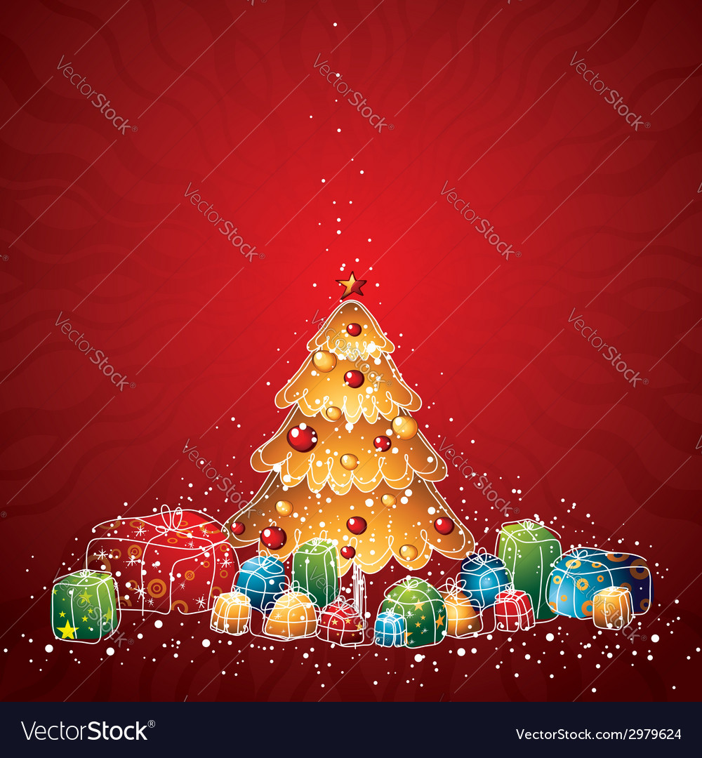 with christmas tree and many gifts vector image - How Many Gifts For Christmas
