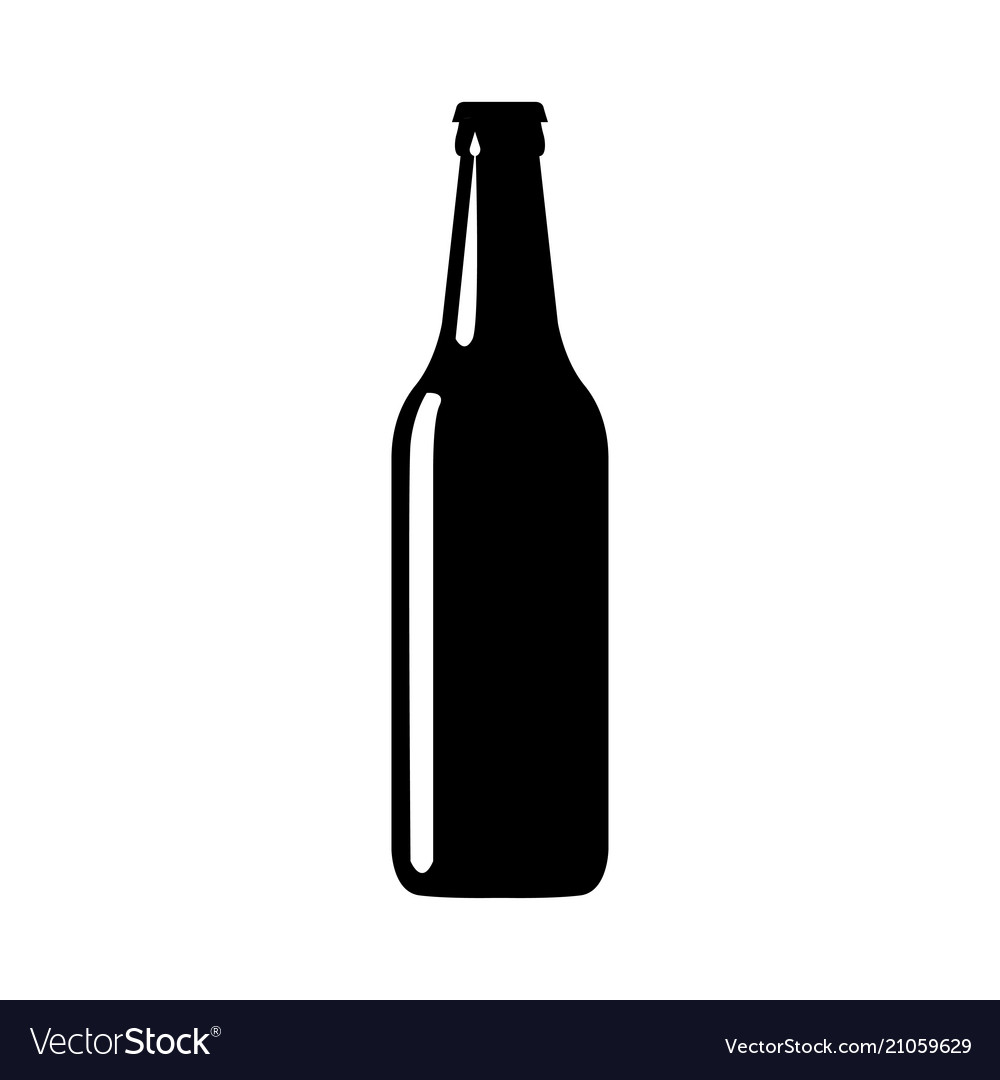 beer bottle black silhouette royalty free vector image rh vectorstock com vector beer bottle free beer bottle vector png