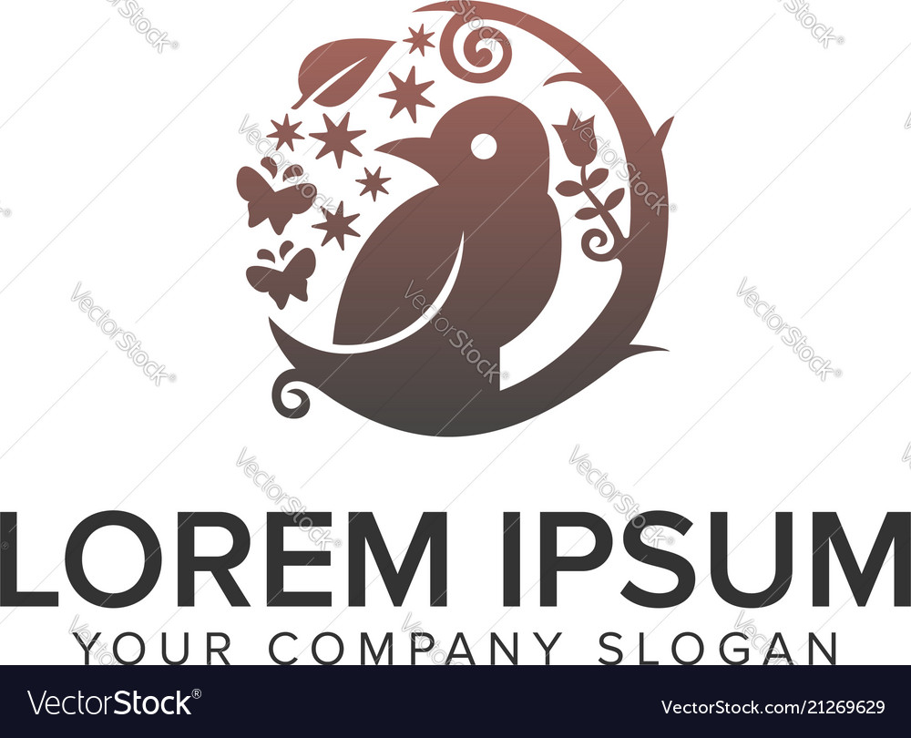 Bird with decorative flower logo design concept vector image