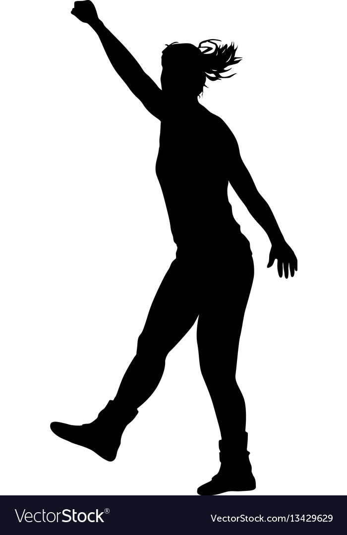 Black silhouettes of beautiful woman with arm