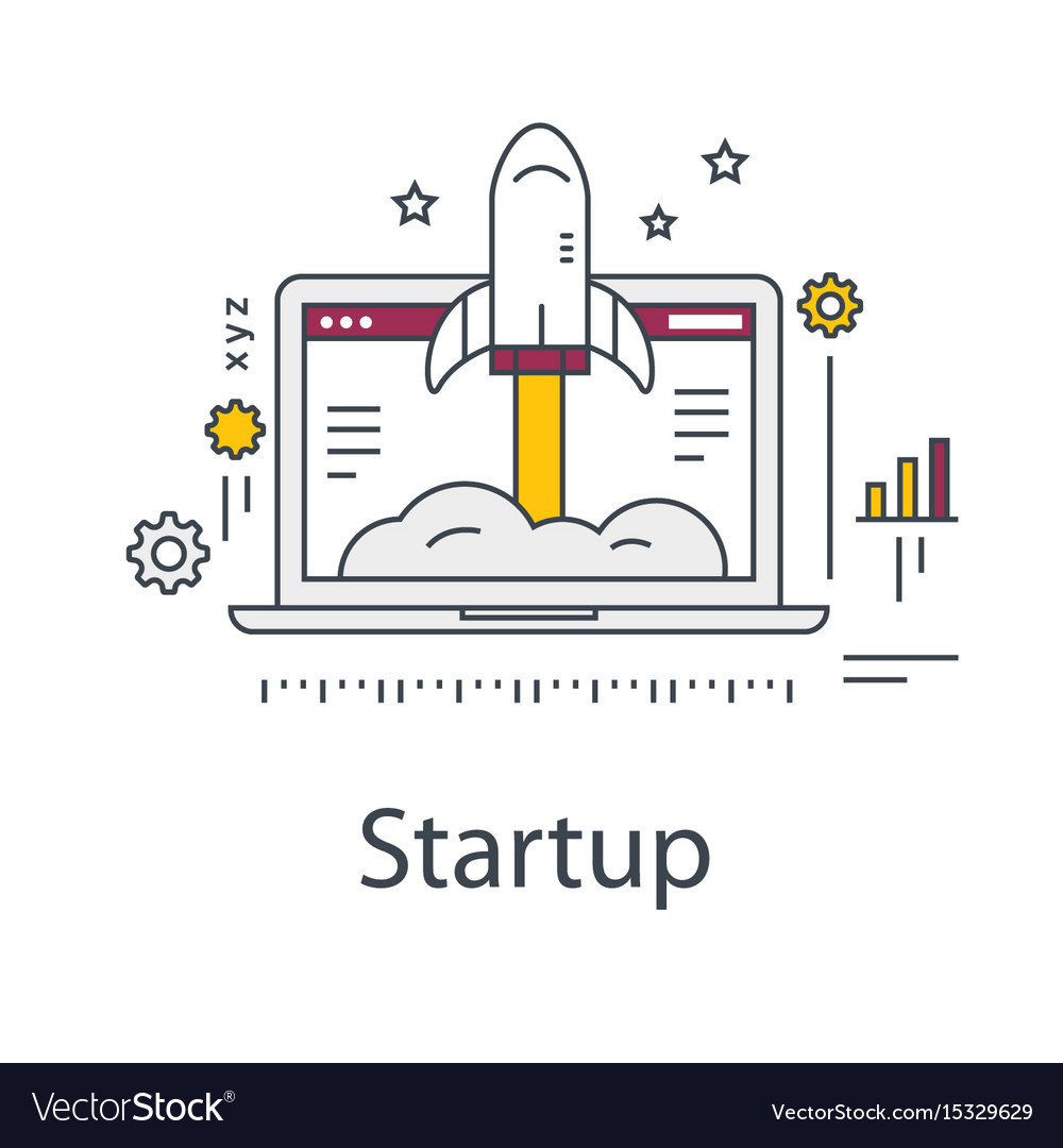 Business startup rocket and laptop