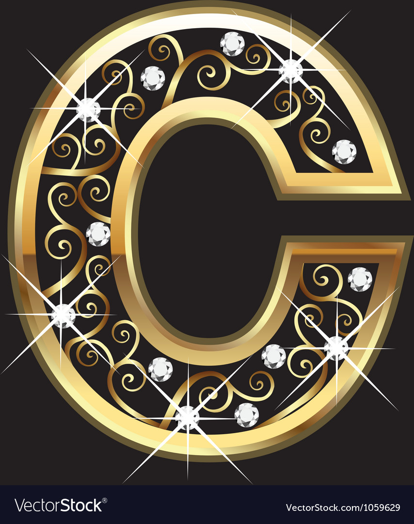 C Gold Letter With Swirly Ornaments Royalty Free Vector