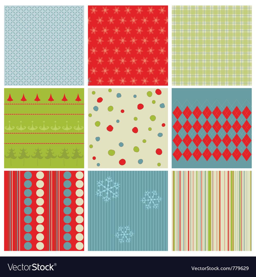 Christmas seamless backgrounds vector image