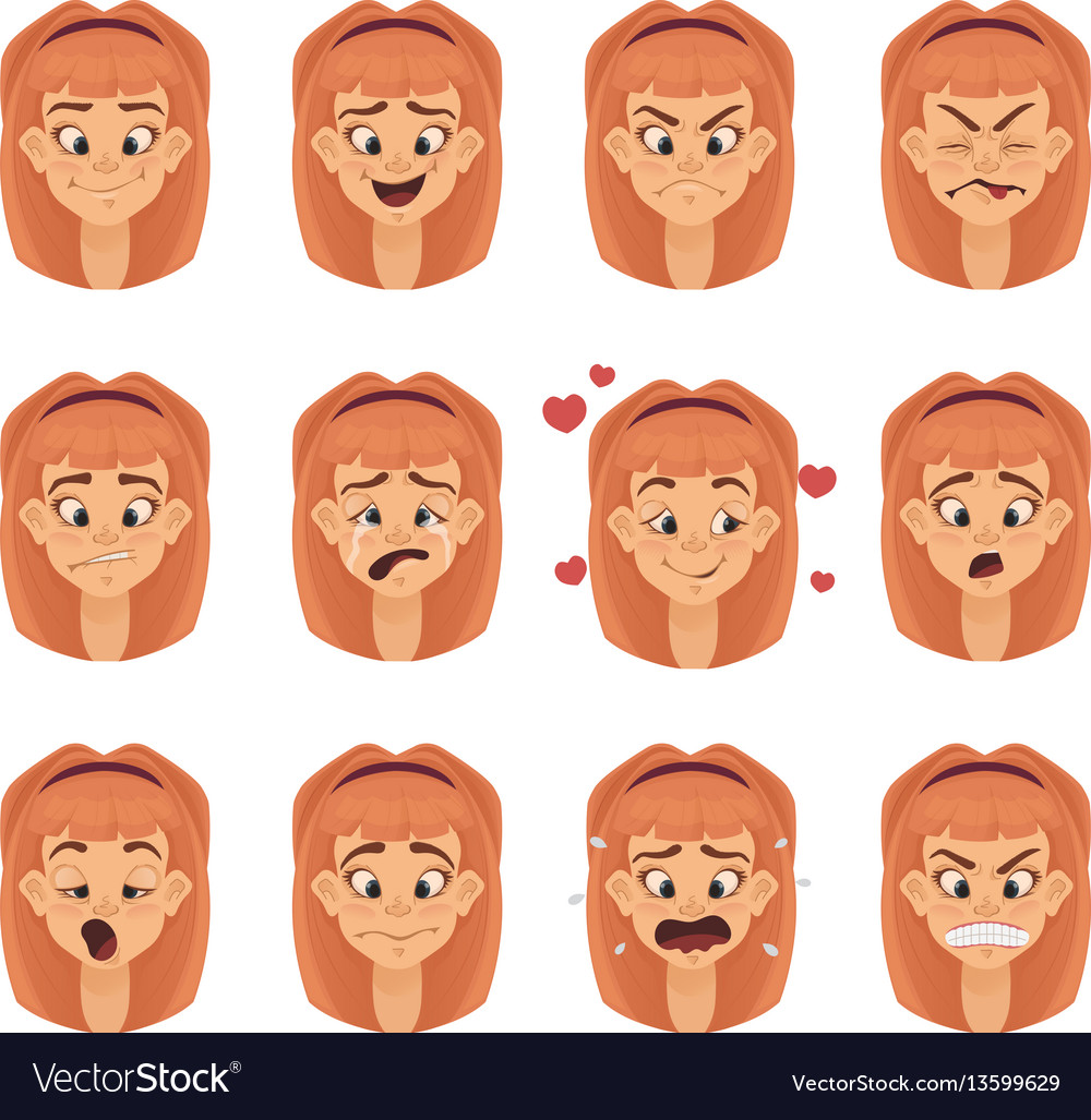 Emotions girl teen character isolated faces