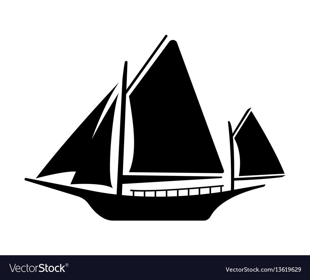 Flat yacht icon boat logo on white background