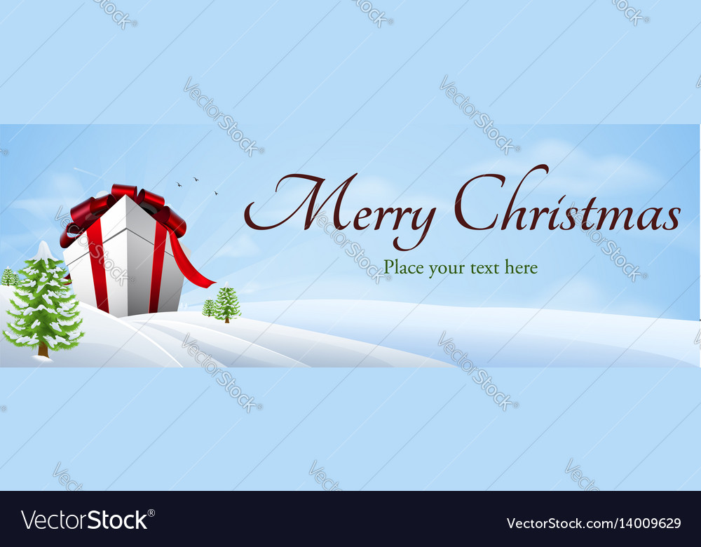 Giant christmas gift banner background vector image