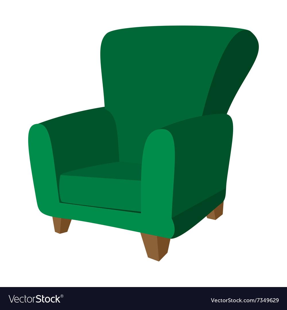 Green Armchair Cartoon Icon Vector Image