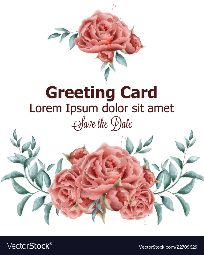 Greeting card with roses flowers watercolor