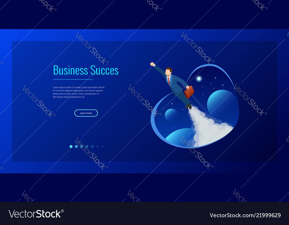 Isometric design for business startup web banner