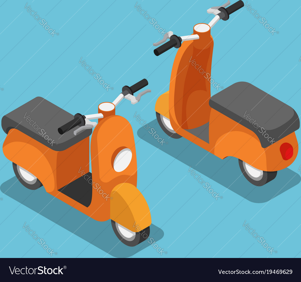 Isometric orange scooter or motorcycle