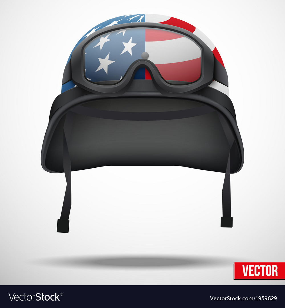 Military American helmet and goggles
