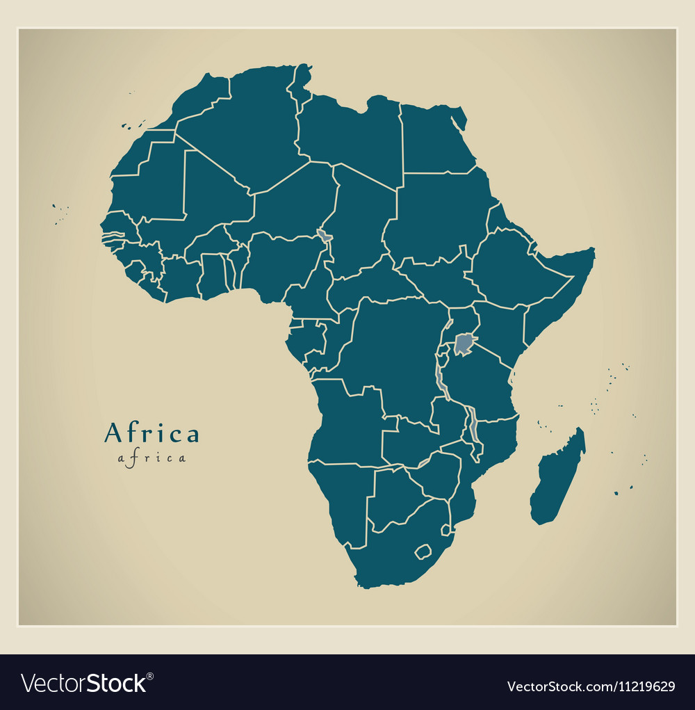 Modern Map - Africa continent with frontiers