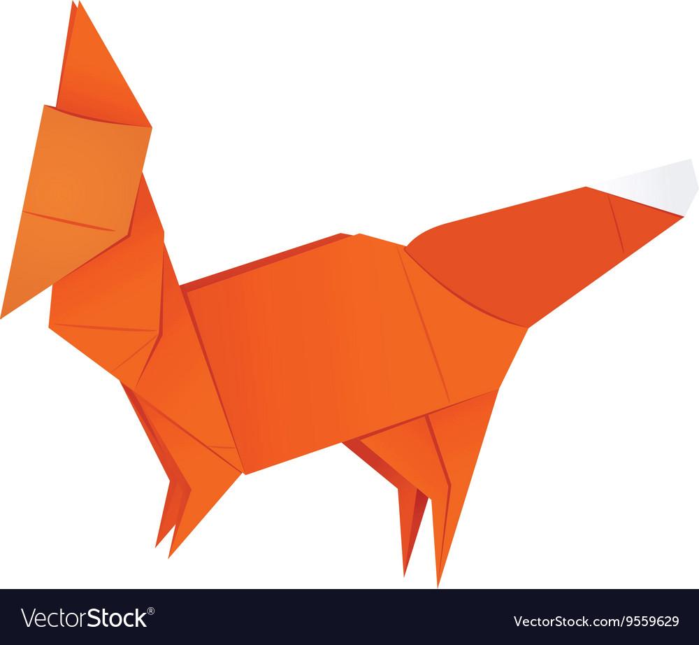 Origami Fox Royalty Free Vector Image Vectorstock