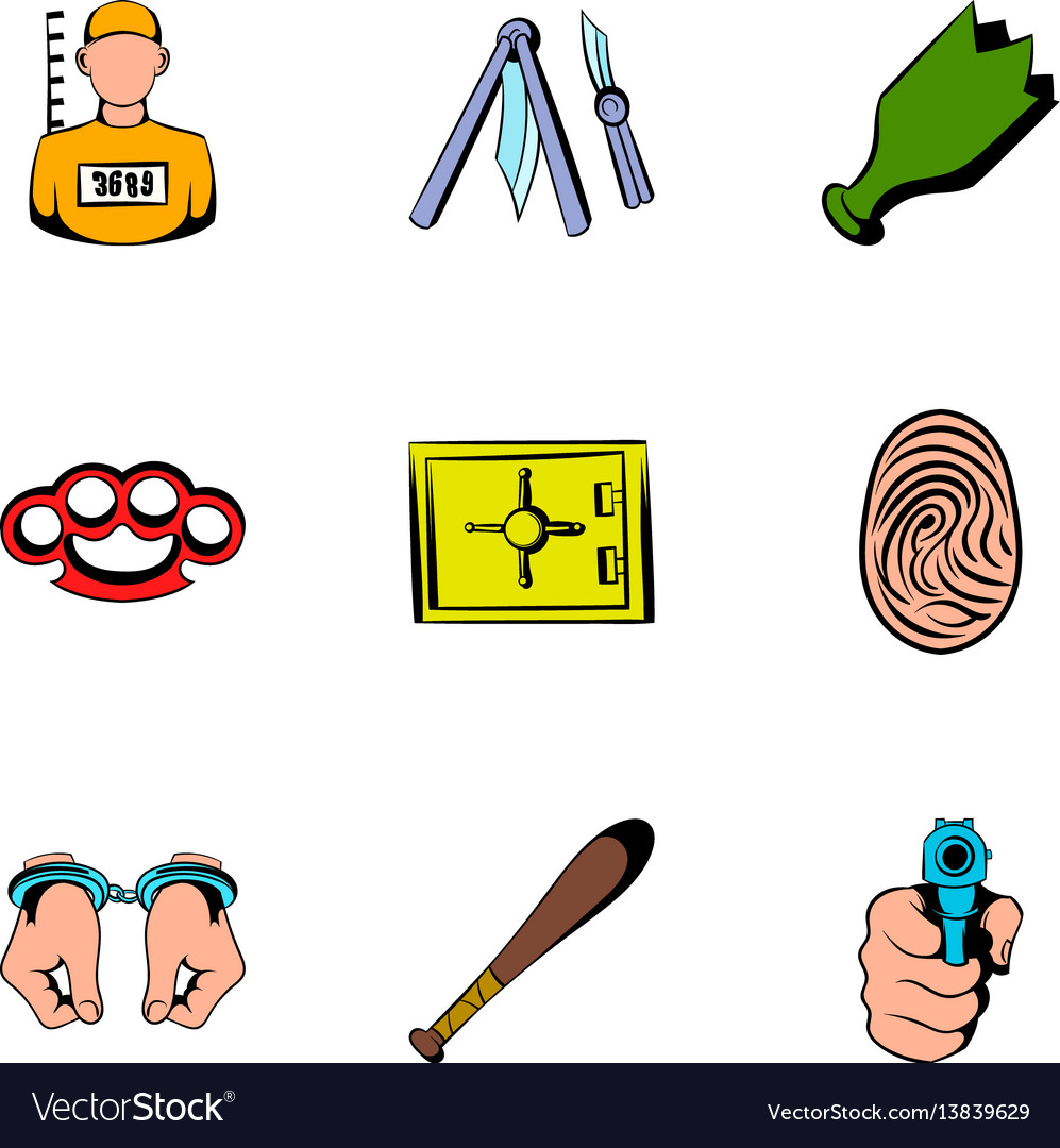 Prisoner icons set cartoon style