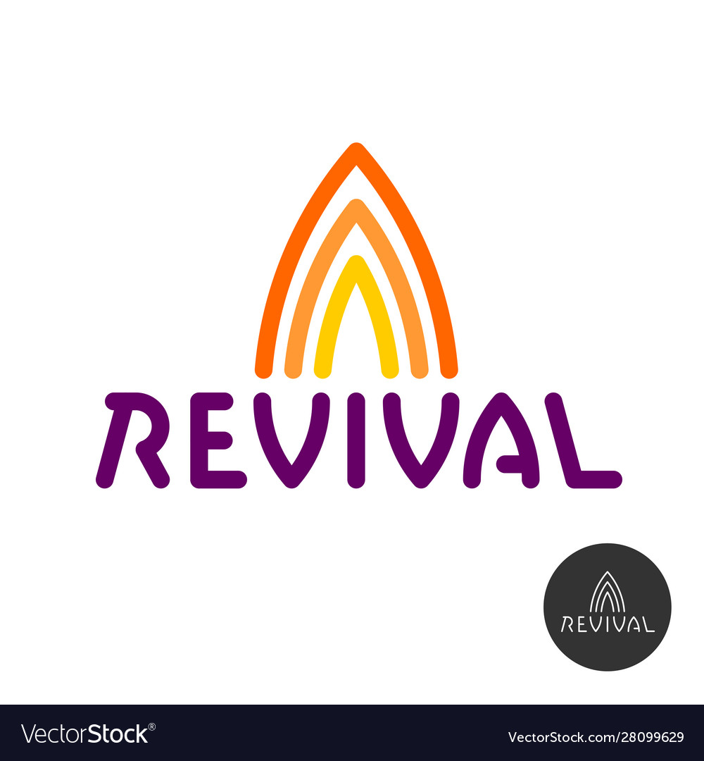 Revival text logo with fire symbols above