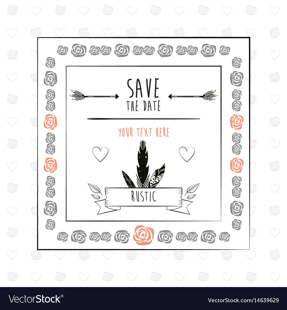 Save the date floral rustic frame decorative