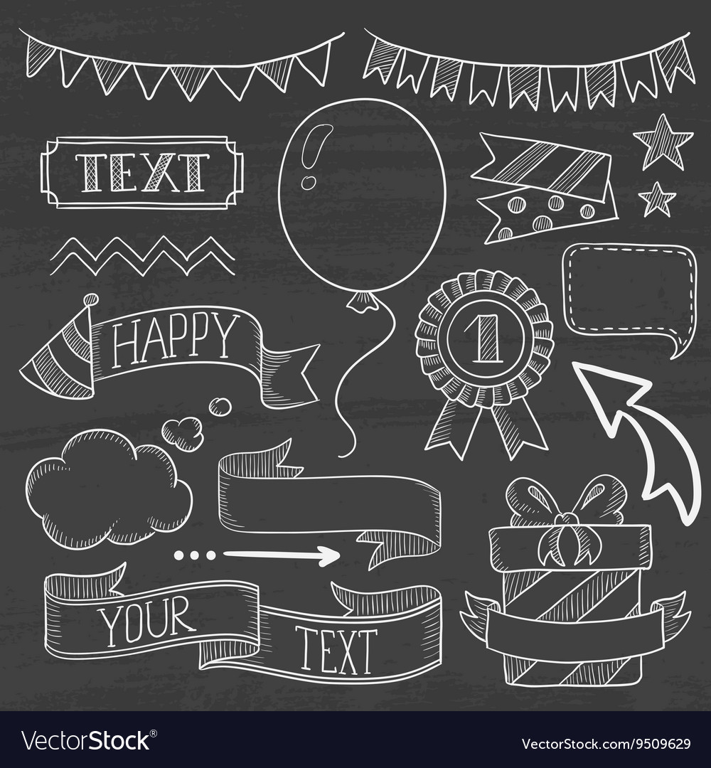 Set of ribbons and elements for party invitation