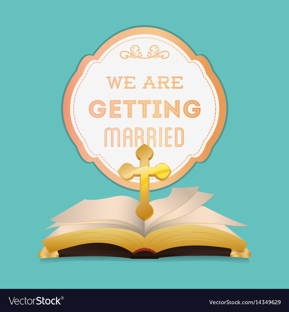 We are greeting married bible religion cross vector image