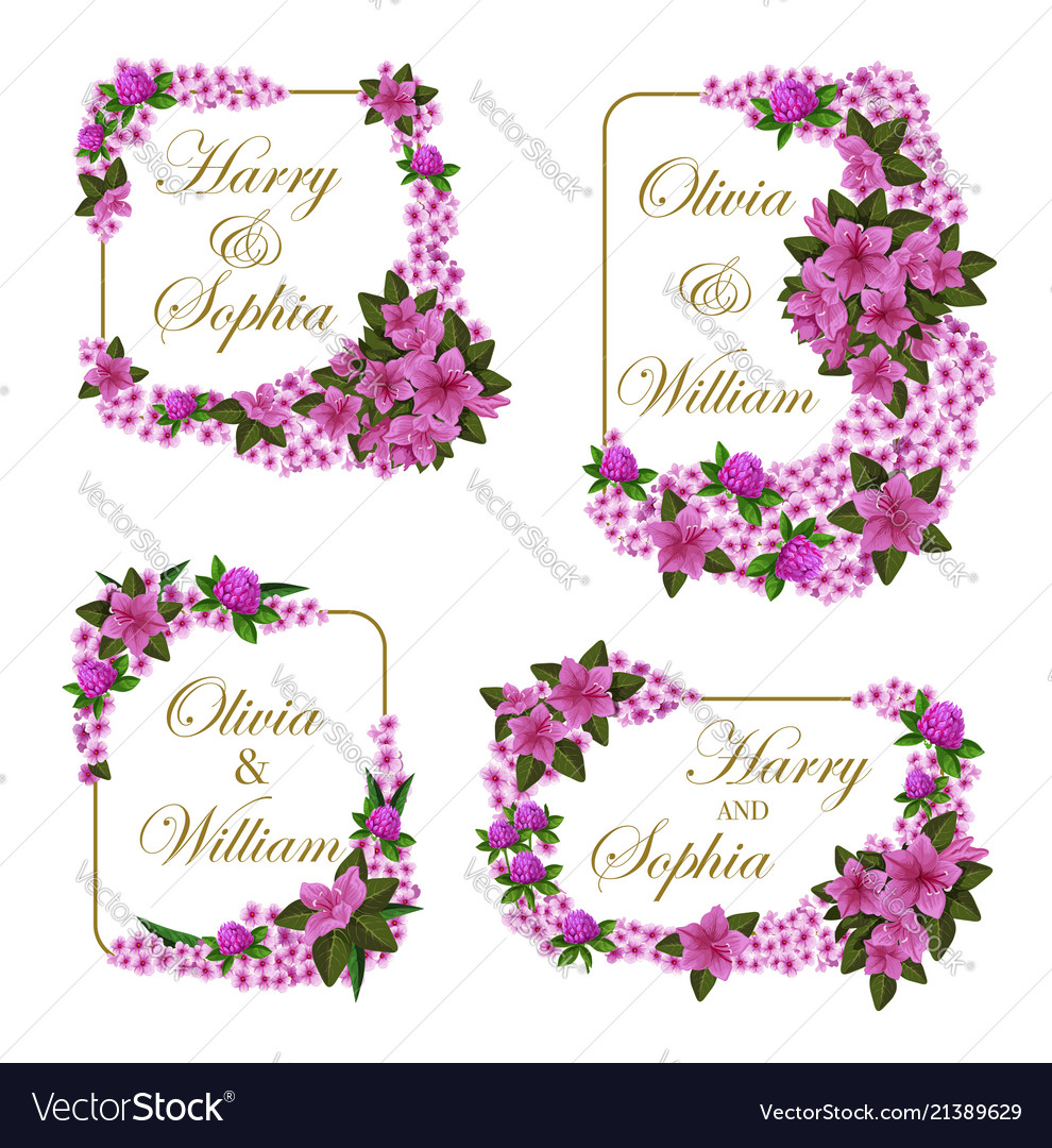 Wedding invitation cards of flowers Royalty Free Vector
