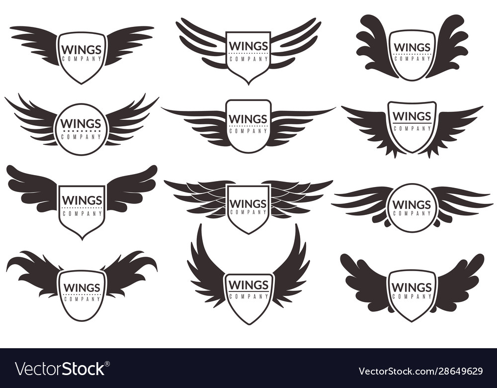 Wings logo winged emblems angel and phoenix