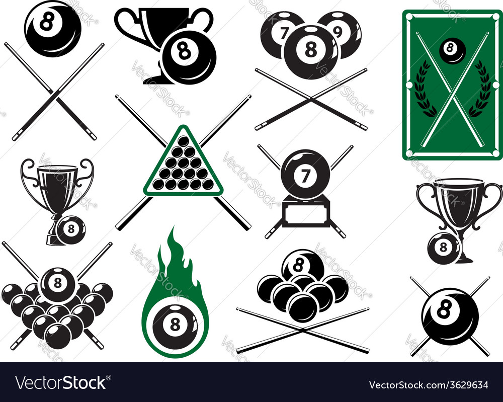 Billiard pool and snooker sports emblems