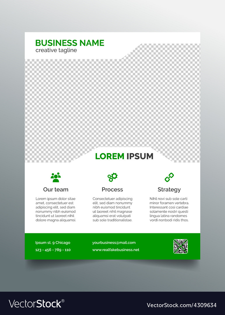 business flyer template simple green design vector image