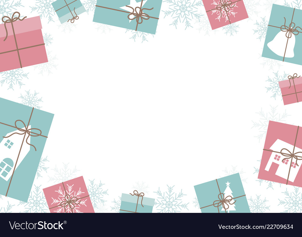 Christmas banner design gift box and snowflake